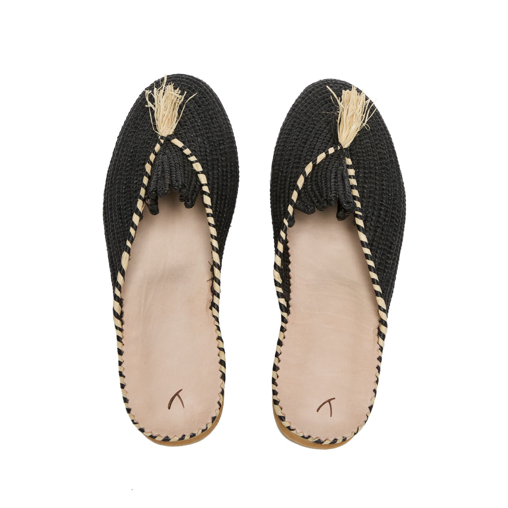back side abury black raffia summer slippers with tassel