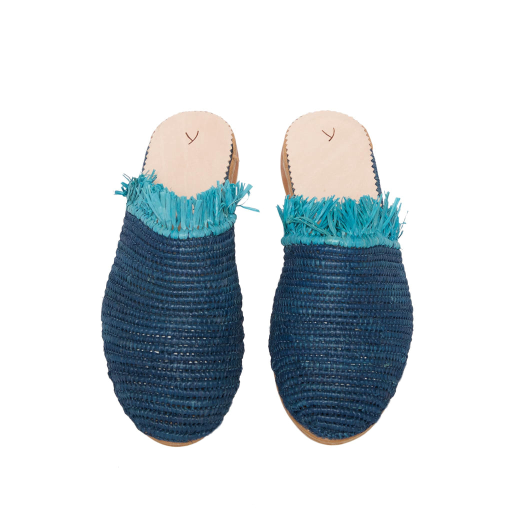 front side abury blue raffia summer slippers with fringes