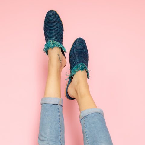 Raffia Summer Shoes in Kale Green