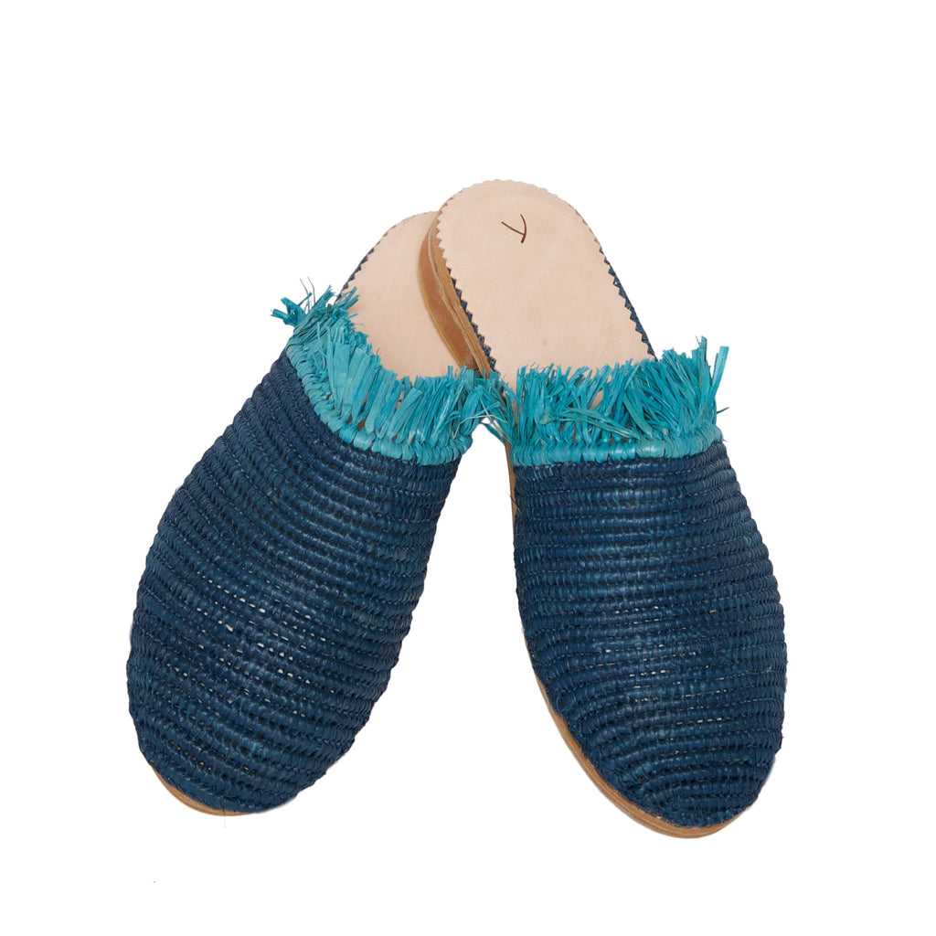 side view abury blue raffia summer slippers with fringes