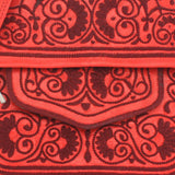 close up Red abury Leather Berber Bag details emroidment