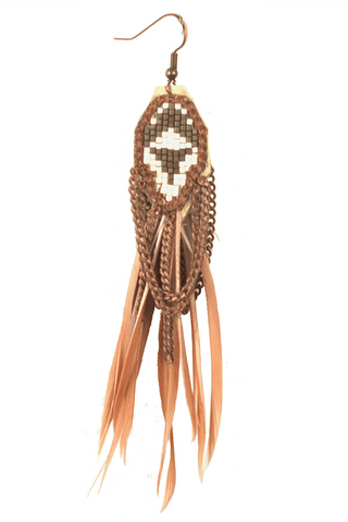 Beaded Wrap Bracelet with Tassel by Sidai Designs - Orange and White