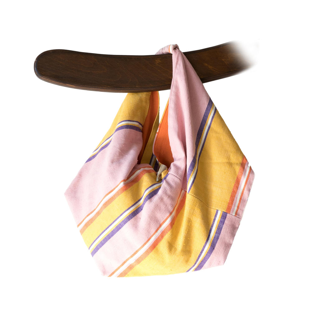 ABURY cotton hobo bag in pink and yellow
