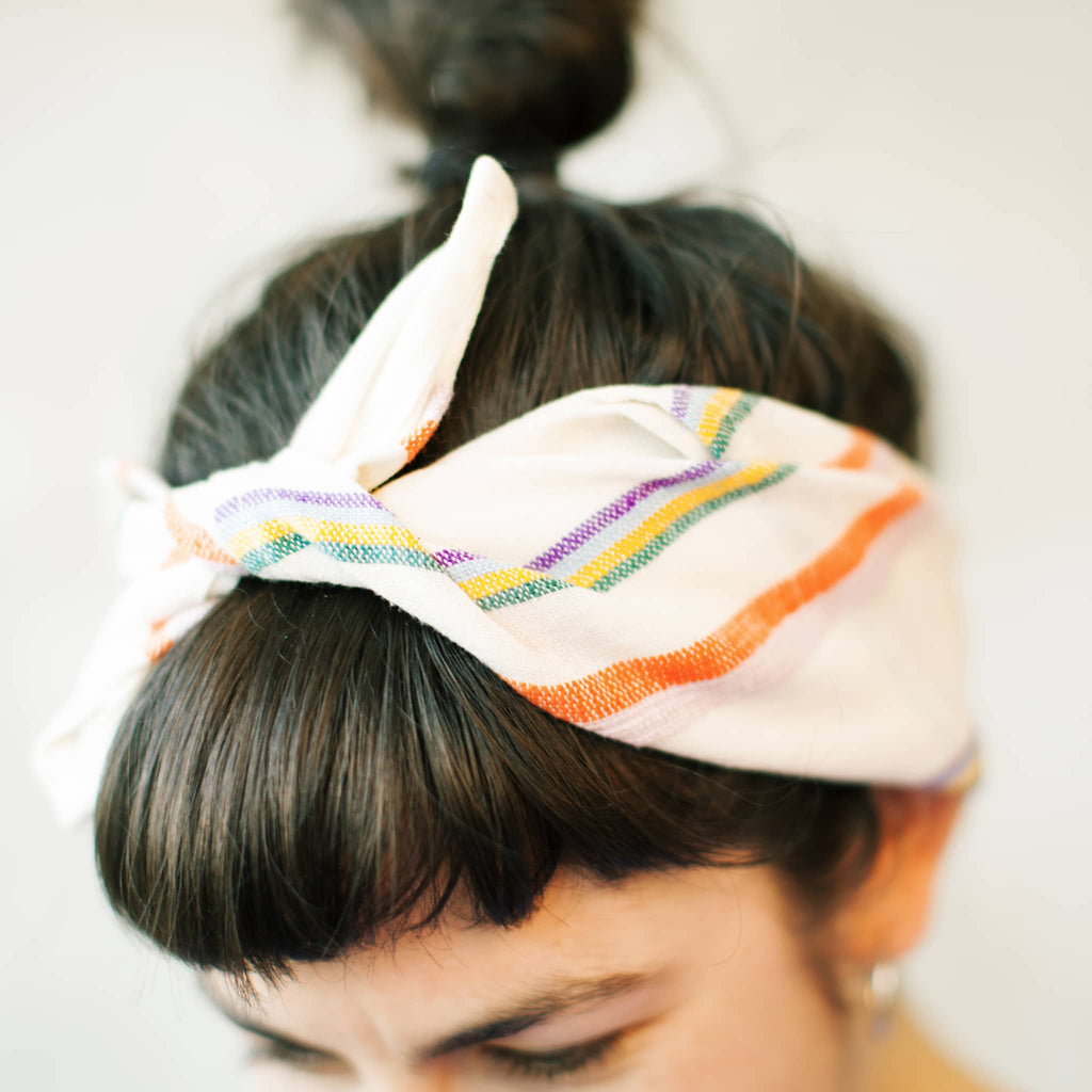 one way of using ABURY Colourful Striped Cotton Bandana