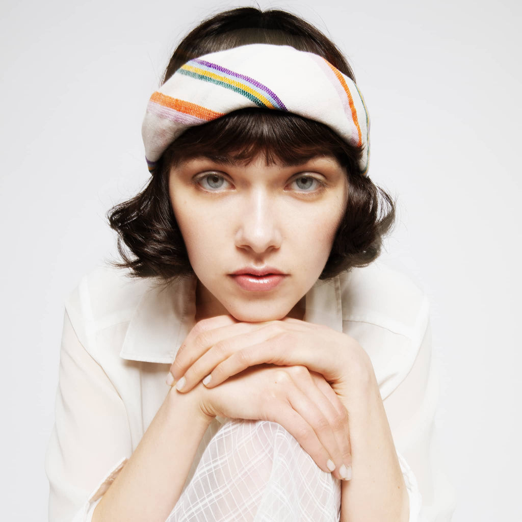 Model wearing ABURY colourful cotton striped bandana
