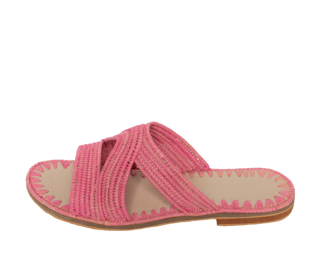 Raffia Slippers Habeeba in Rosé