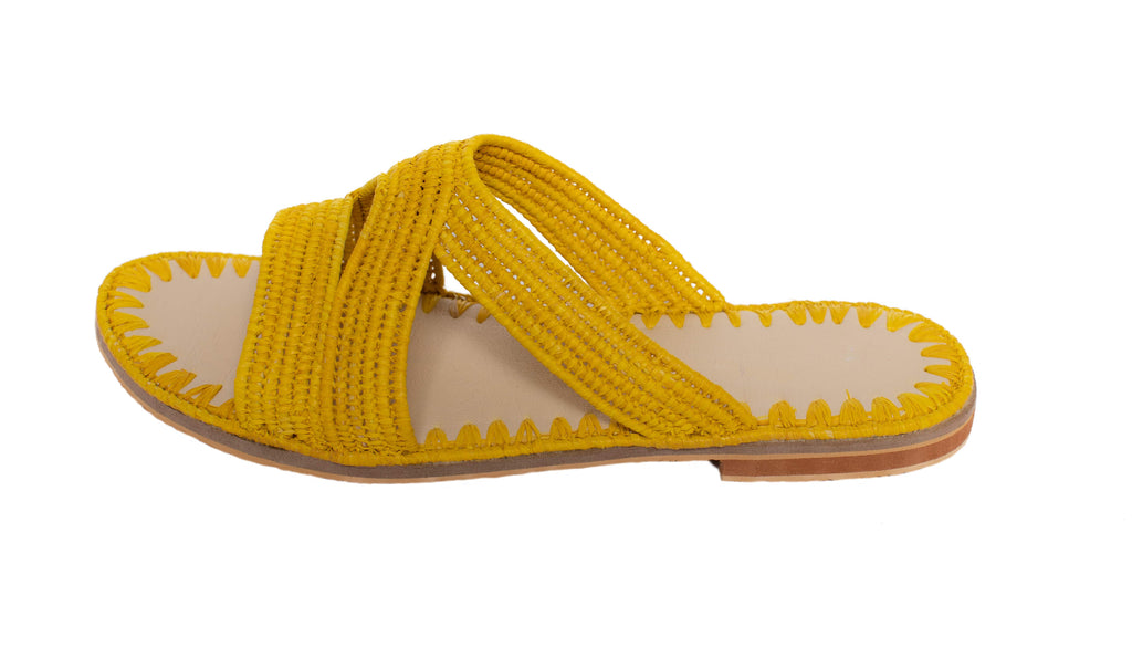 Raffia Slippers Habeeba in Yellow