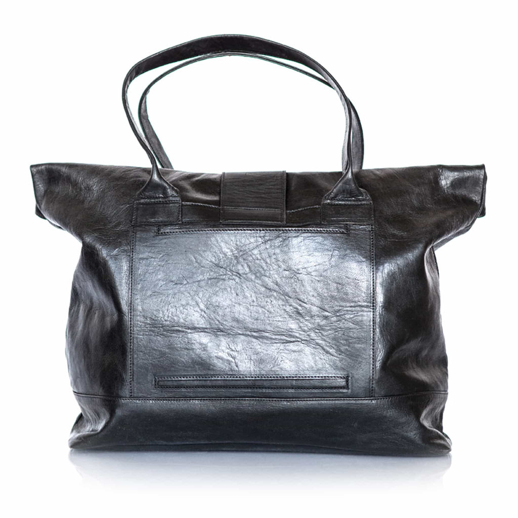 Black Olive Leather Shopper Bag