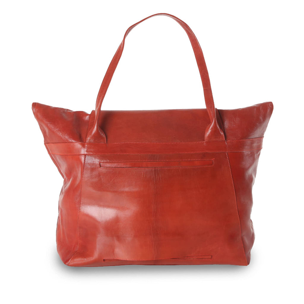 Red Leather XL Shopper Bag packshot back
