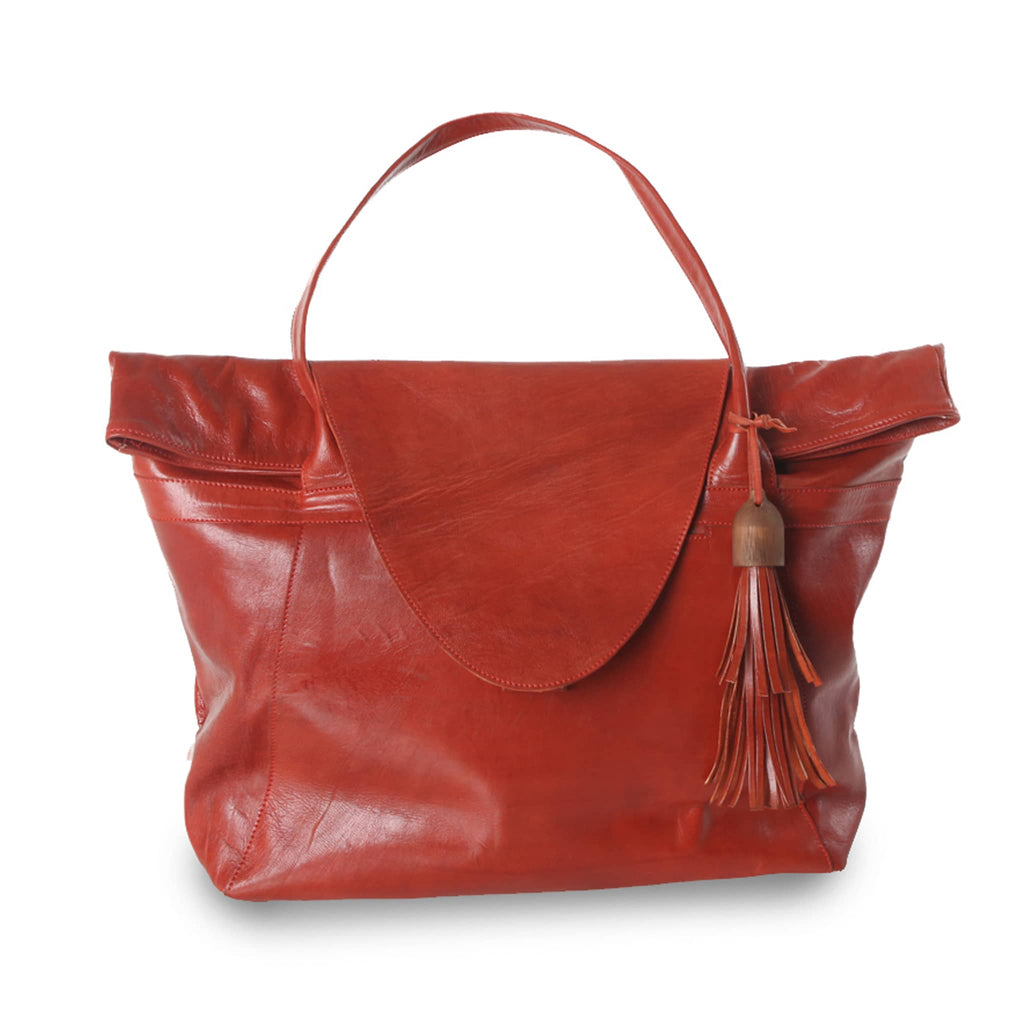 Red Leather XL Shopper Bag packshot front