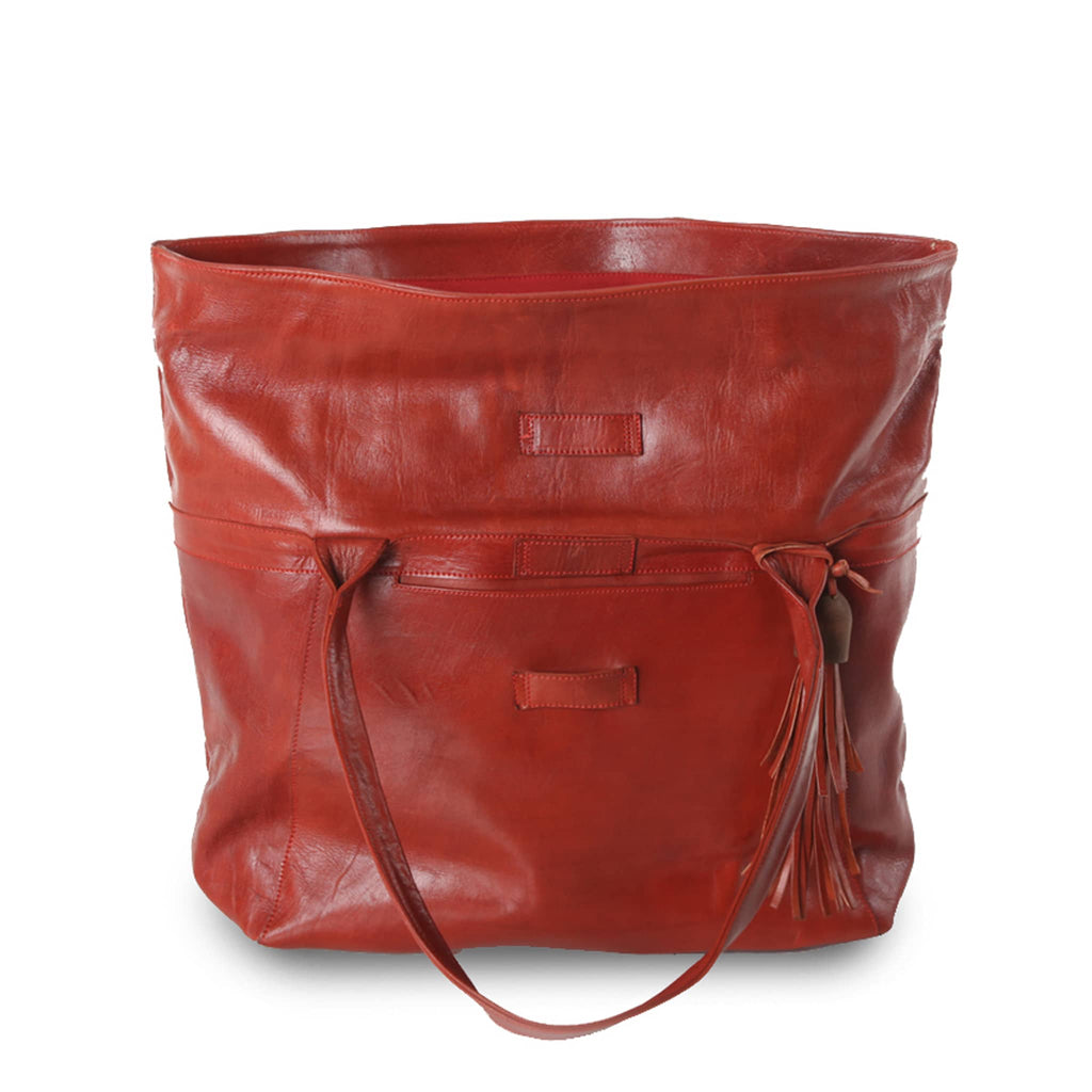 Red Leather XL Shopper Bag packshot open