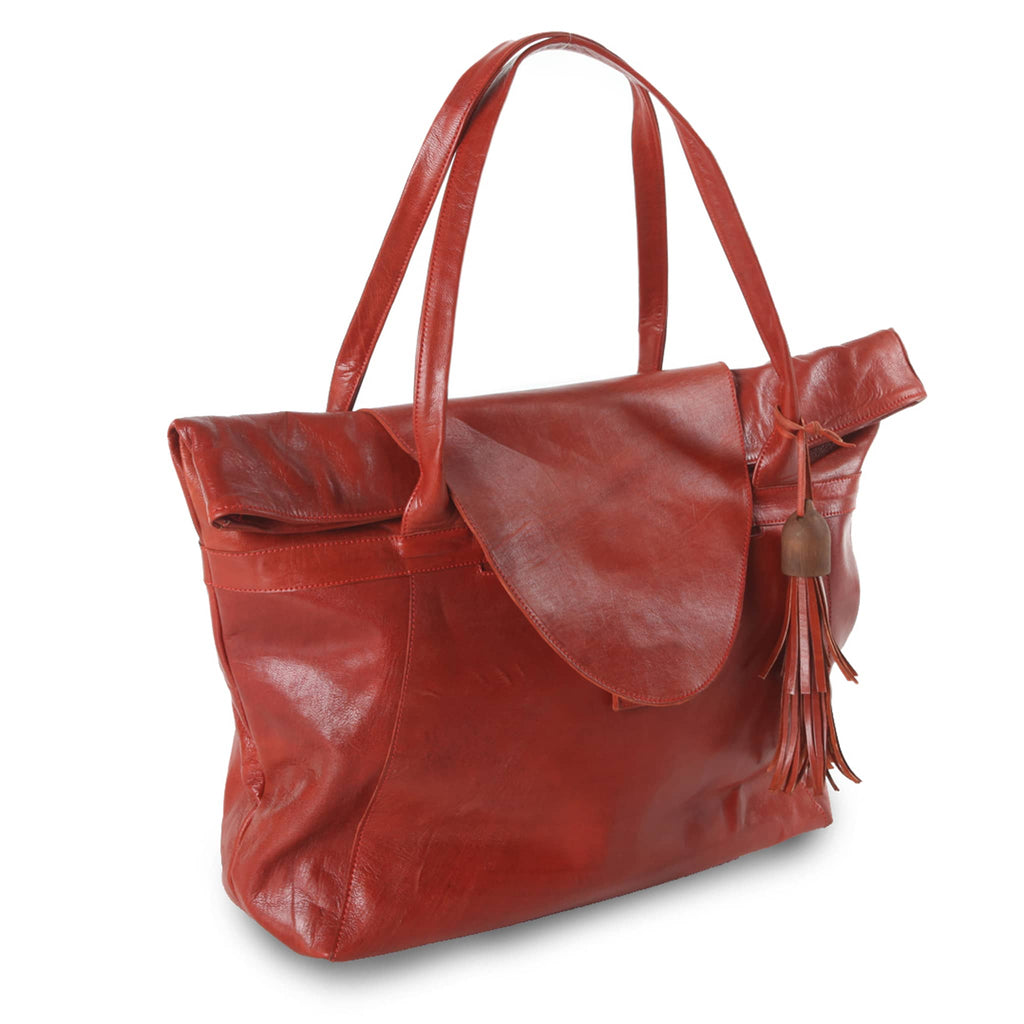Red Leather XL Shopper Bag packshot side