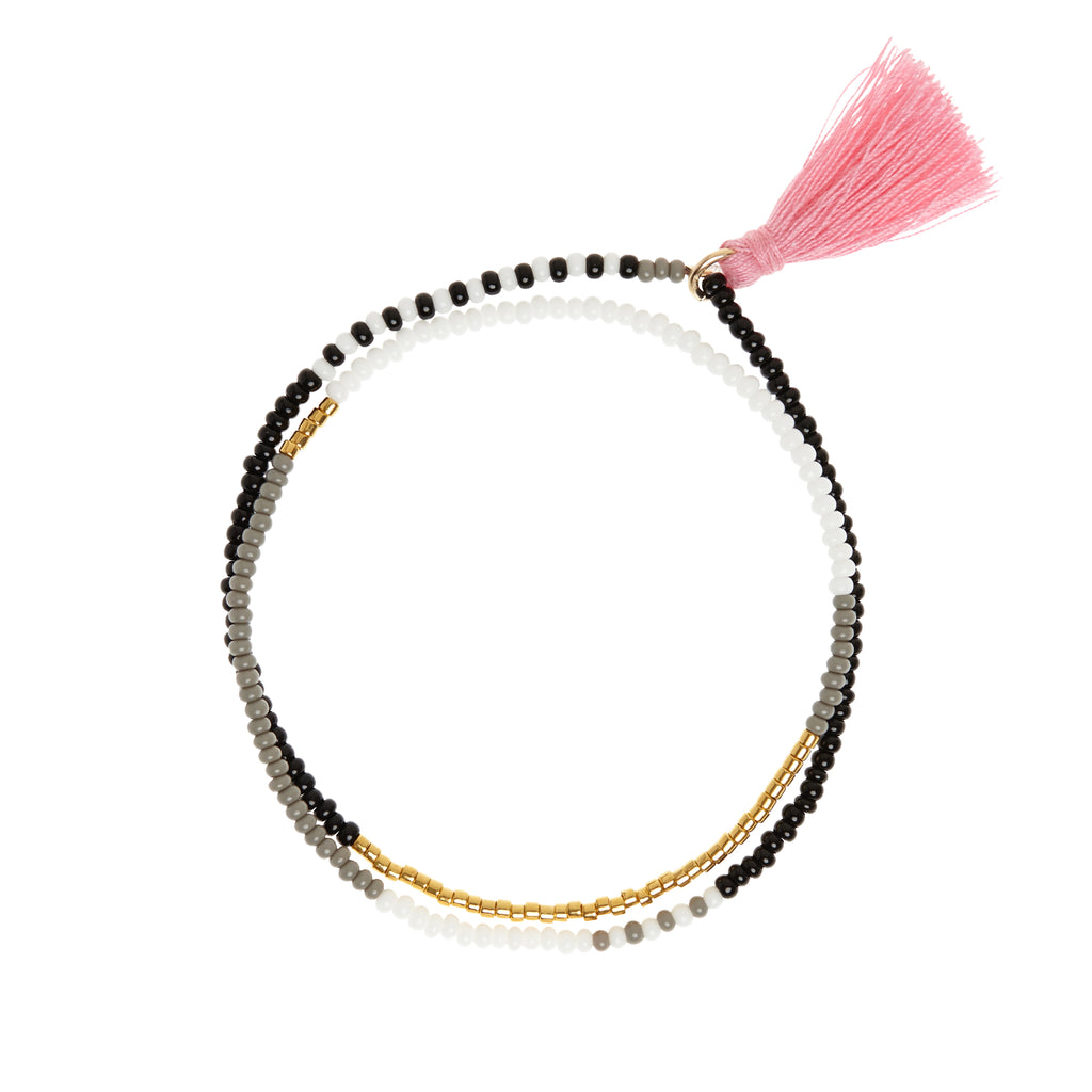 sidai designs grey and gold beaded wrap bracelet with tassel