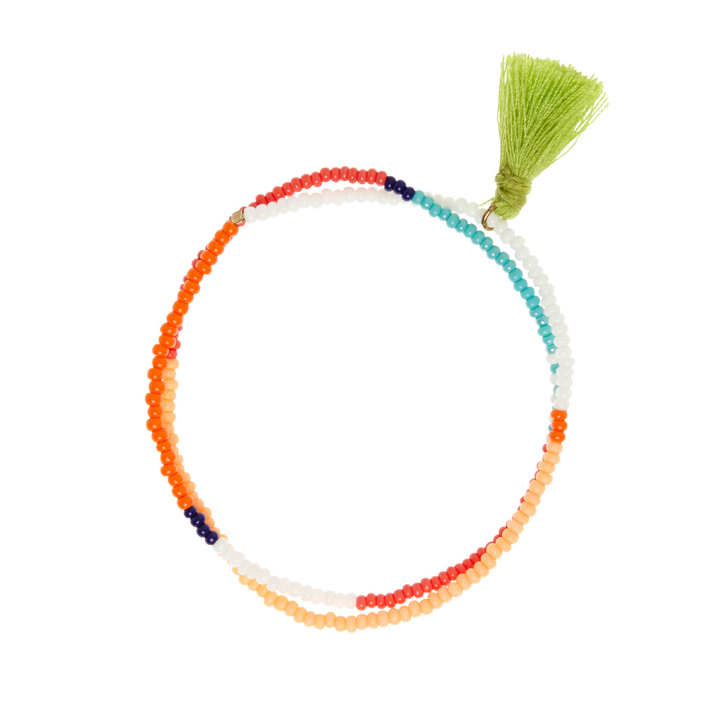 sidai designs orange and white beaded wrap bracelet with tassel