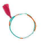 Orange and Turquoise Beaded Wrap Bracelet with Tassel - multicolour jewellery from Tanzania