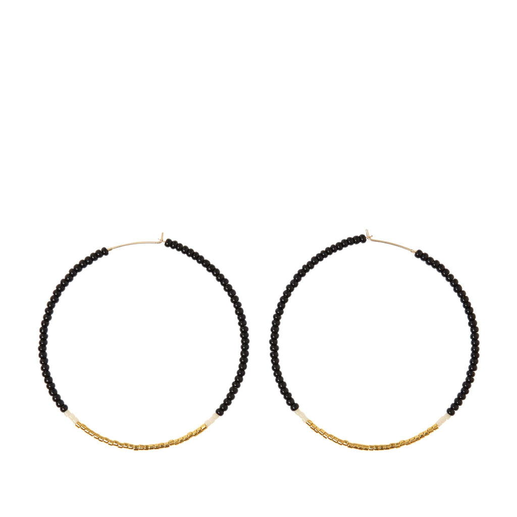 Large Hoop Earrings by Sidai Designs - Black and Gold