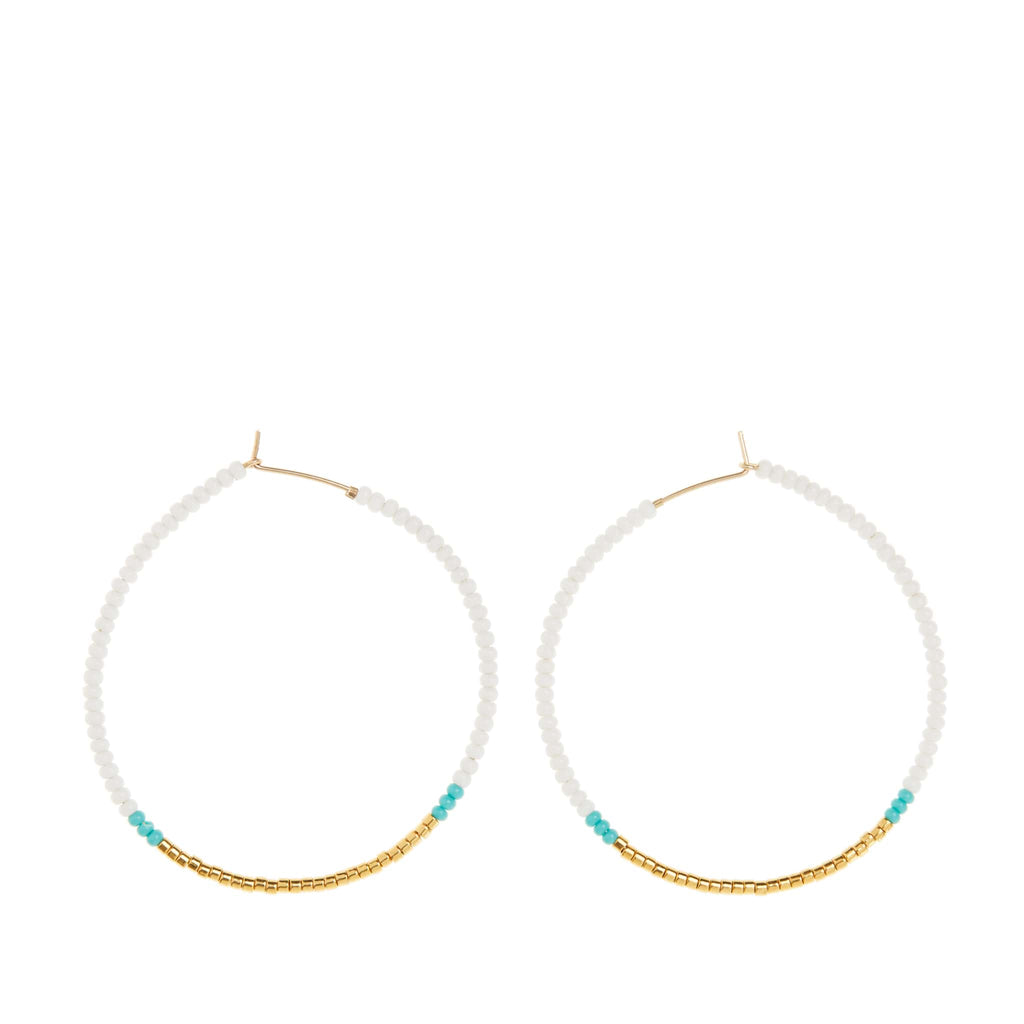 Large Hoop Earrings by Sidai Designs - White and Gold and Turquoise colour jewellery