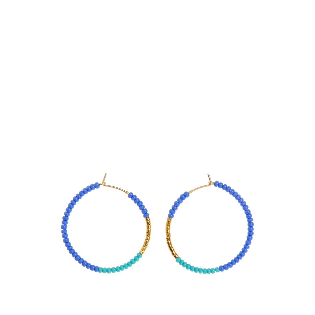 Small Hoop Earrings by Sidai Designs - Blue and Turquoise coloured jewellery from Tanzania