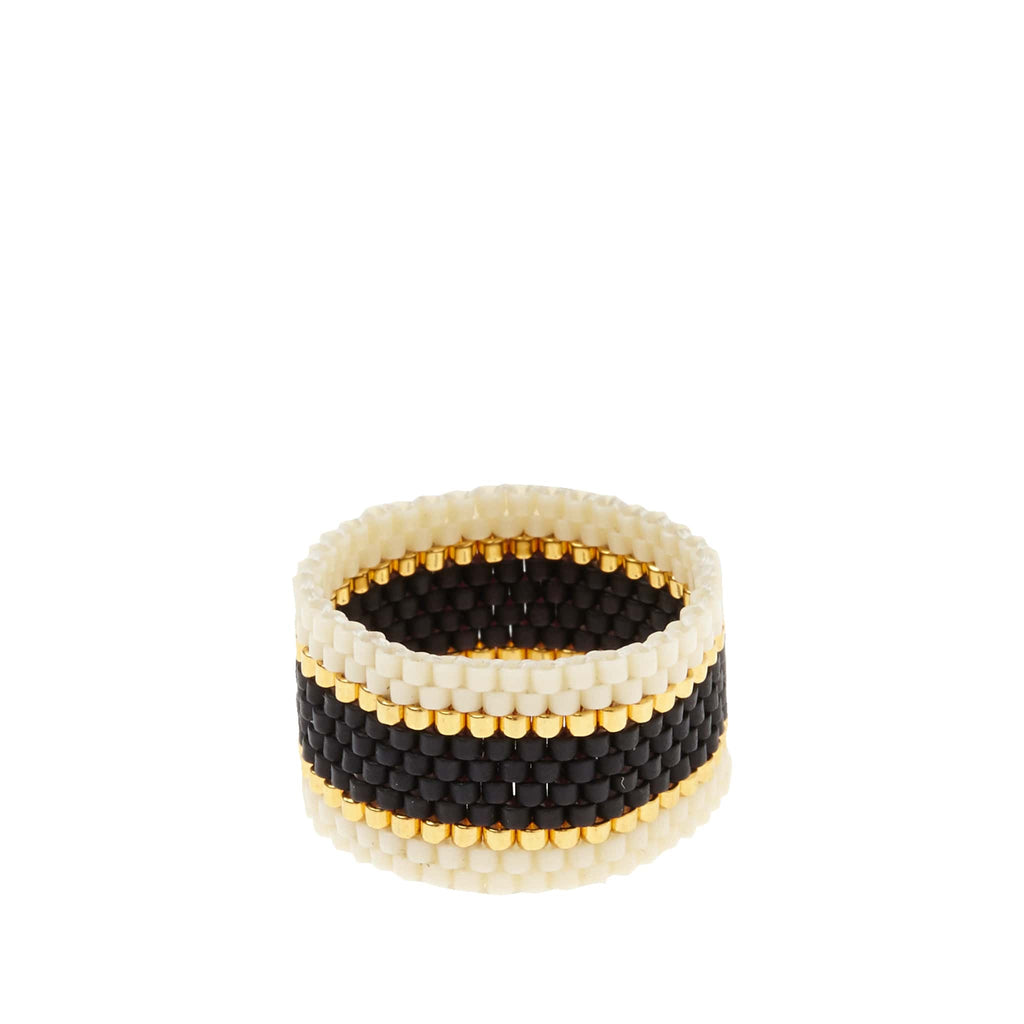 Woven Ring by Sidai Designs - Black and White colour jewellery from Tanzania