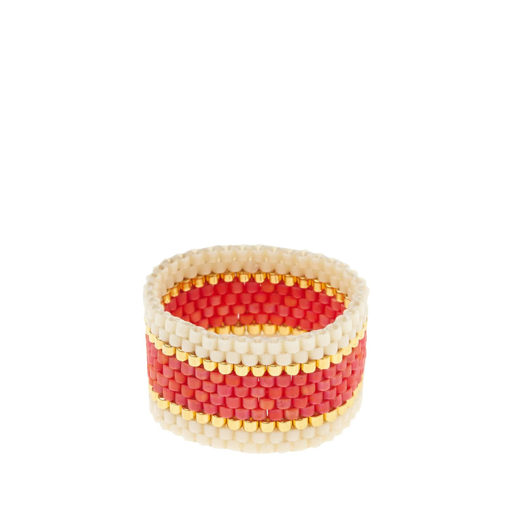 Woven Ring by Sidai Designs - Coral Orange and White colour jewellery