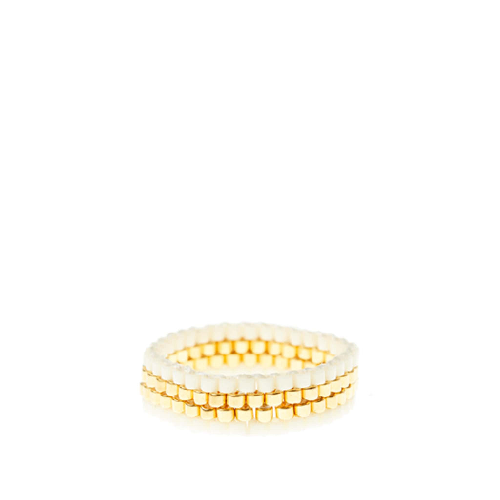 Thin Woven Ring by Sidai Designs - White and Gold colour jewellery