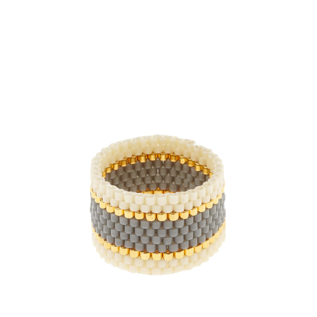 sidai designs woven ring grey and gold colour jewellery
