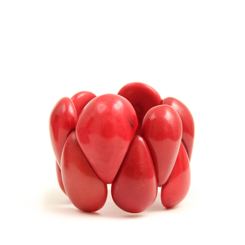 Tagua Nut Jewellery Poppy Coral Bracelet - red jewellery from Ecuador