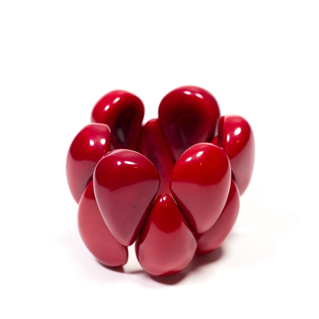 tagua raindrop bracelet dark red - jewellery from Ecuador