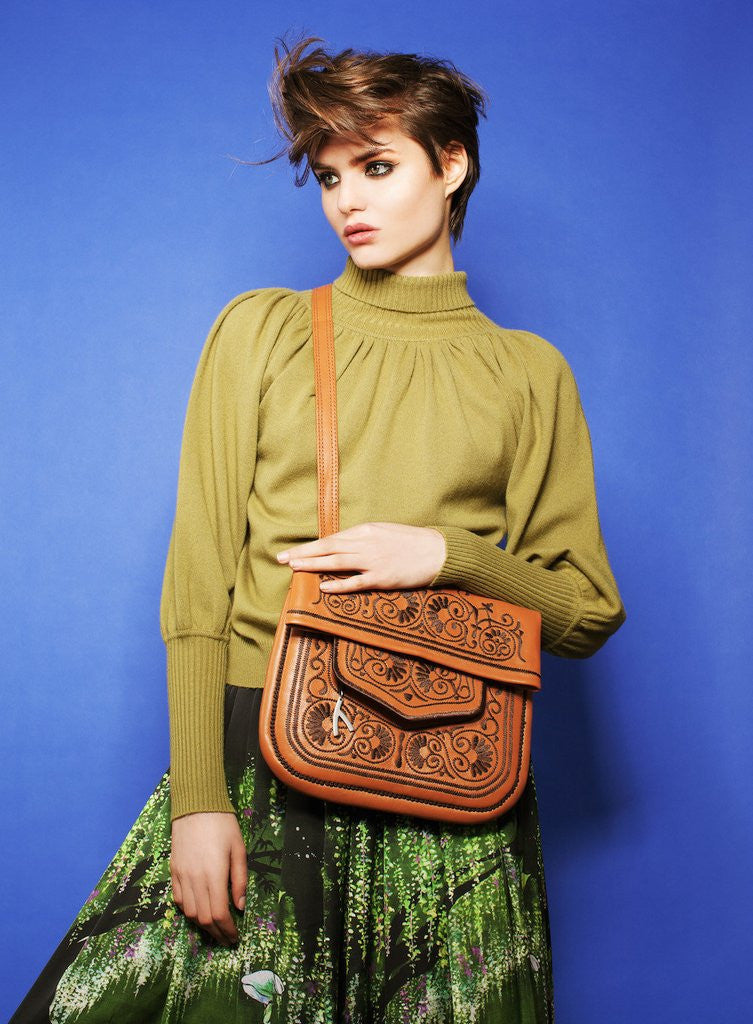 Camel and Chocolate Leather Berber Bag - Shoulder Bags - ABURY Collection