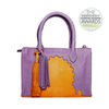 front view abury asmaa purple leather business bag