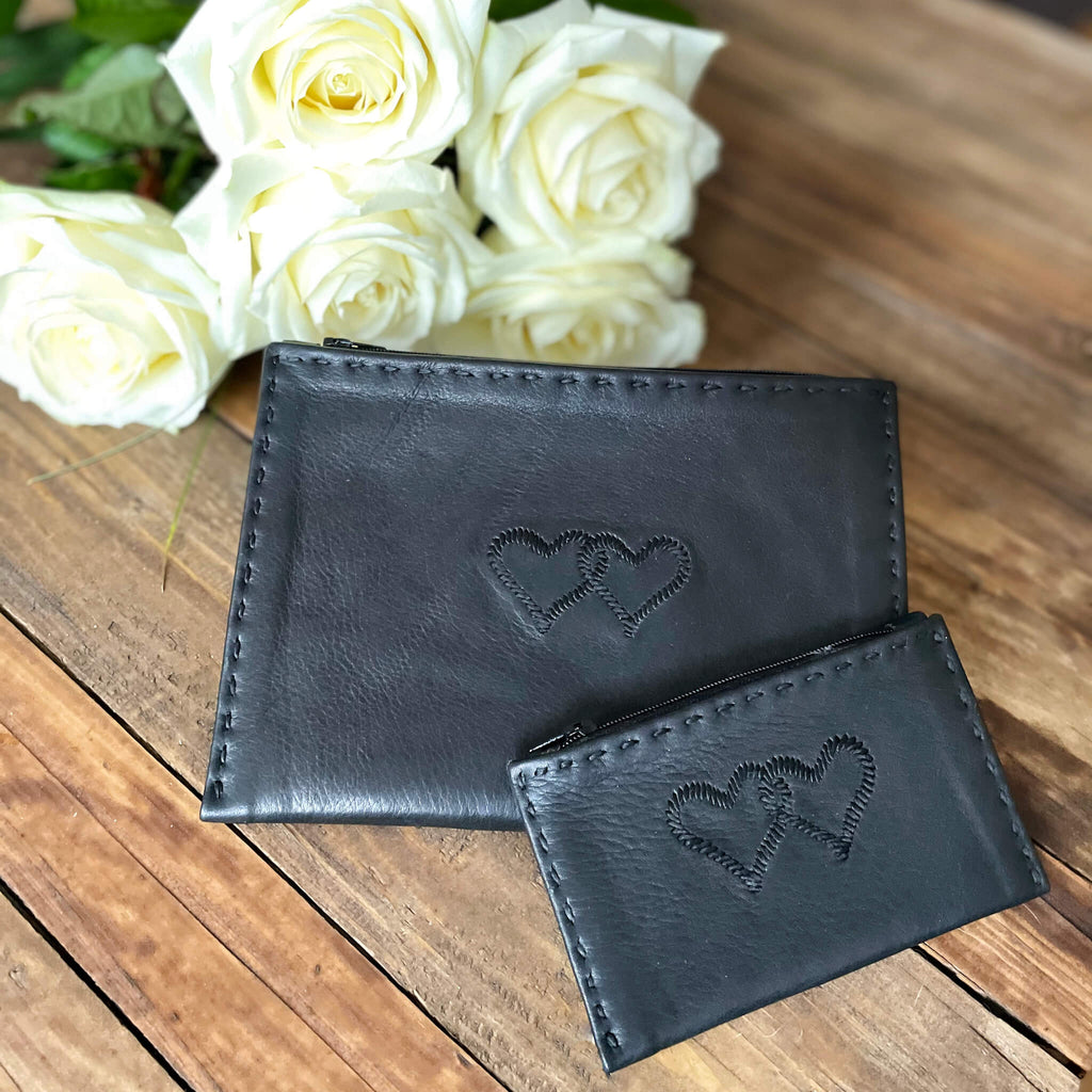 Embroidered Leather Coin Wallet *Love Edition* in Black