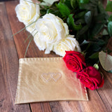 Embroidered Leather Pouch *Love Edition* in Gold