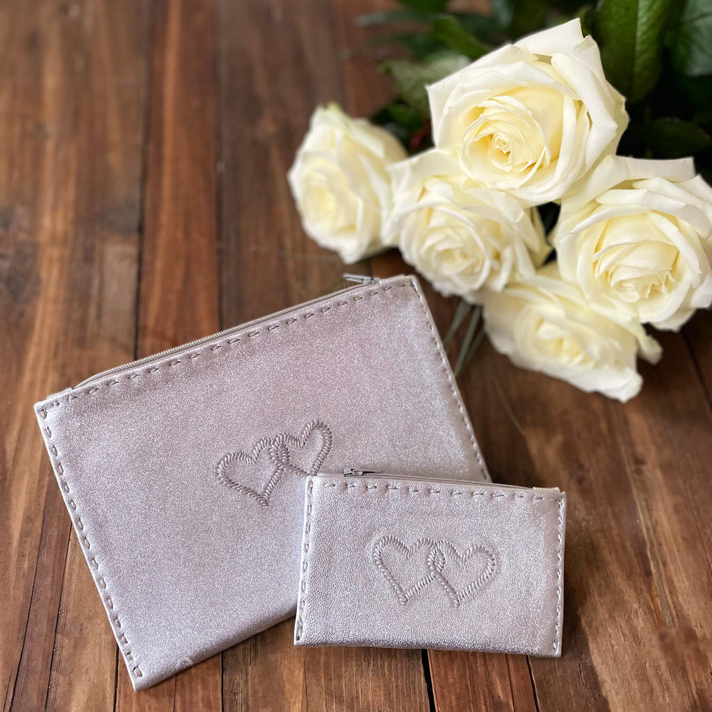 Embroidered Leather Pouch *Love Edition* in Silver