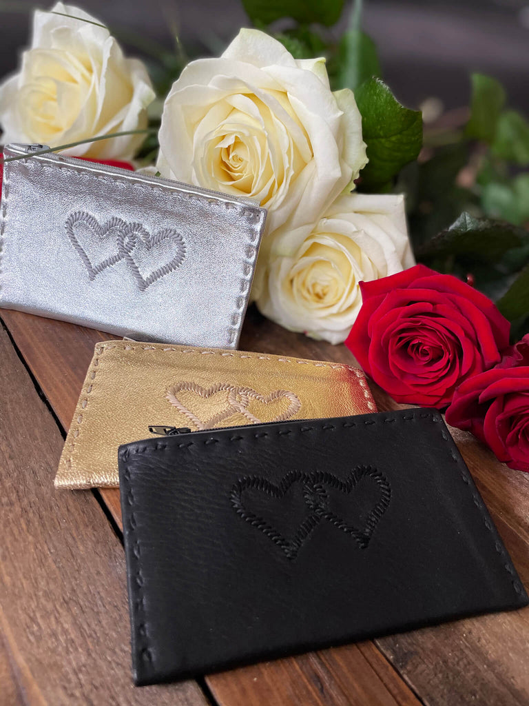 Embroidered Leather Coin Wallet *Love Edition* in Silver