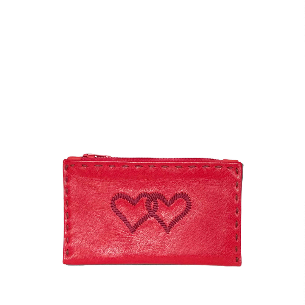 Embroidered Leather Coin Wallet *Love Edition* in Red