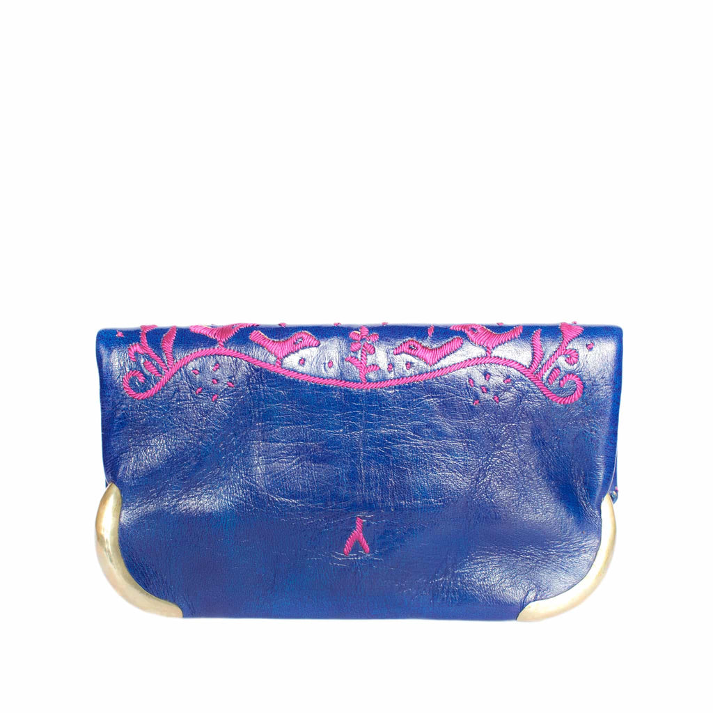 back side blue and purple abury lovebirds clutch bag