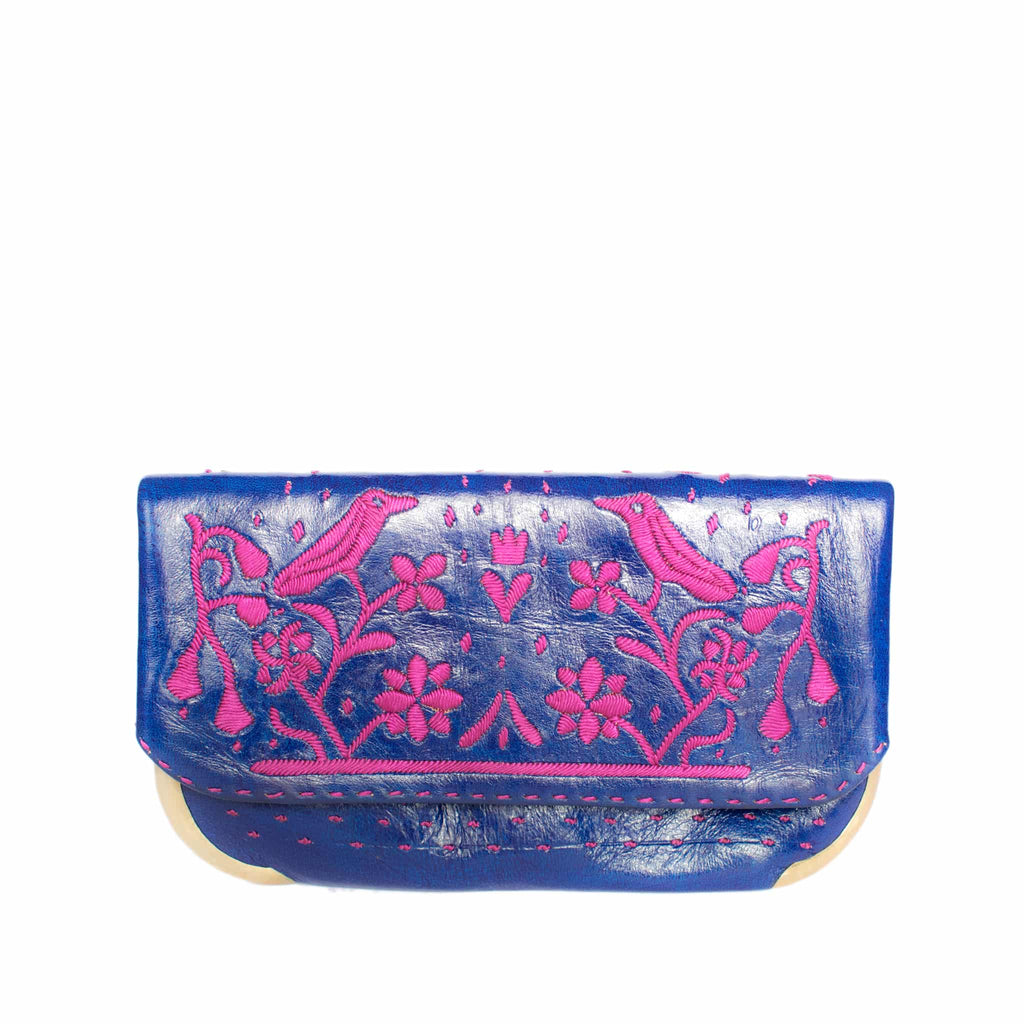 front side blue and purple abury lovebirds clutch bag