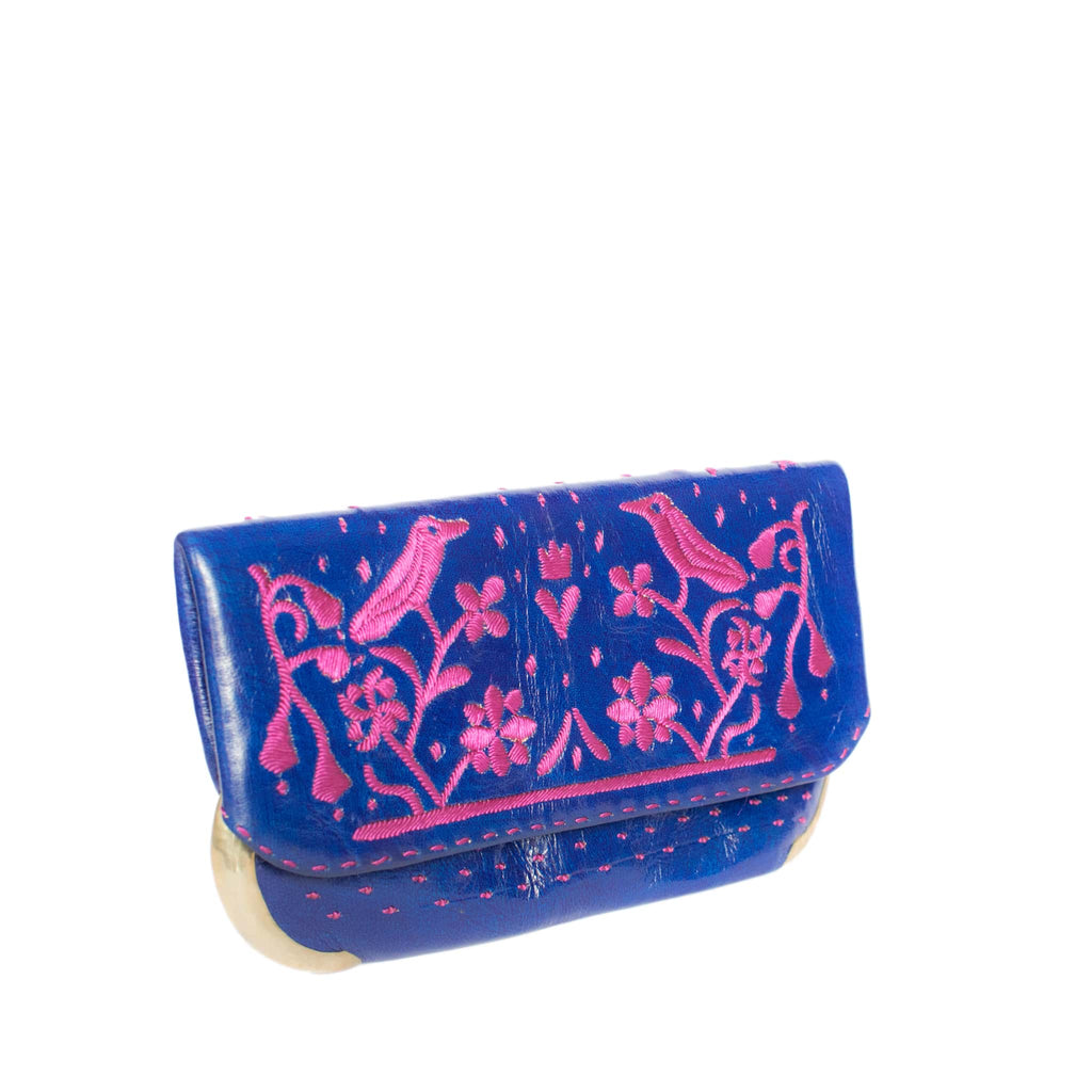 side blue and purple abury lovebirds clutch bag