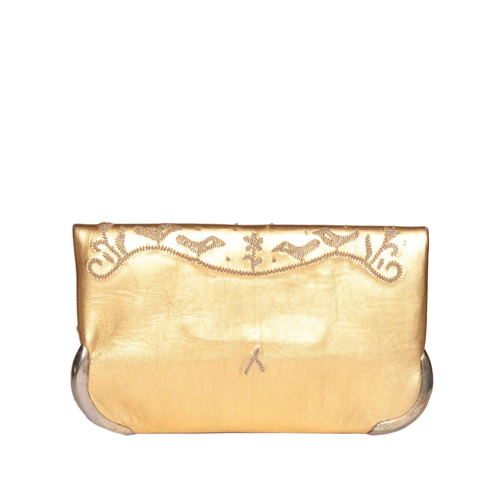 back view golden abury handmade lovebirds clutch bag