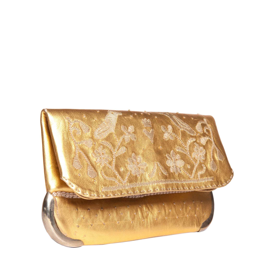 side view golden abury handmade lovebirds clutch bag