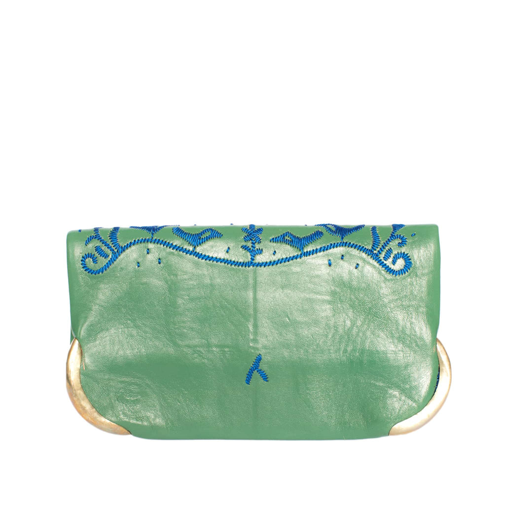 back side green and blue abury lovebirds clutch bag