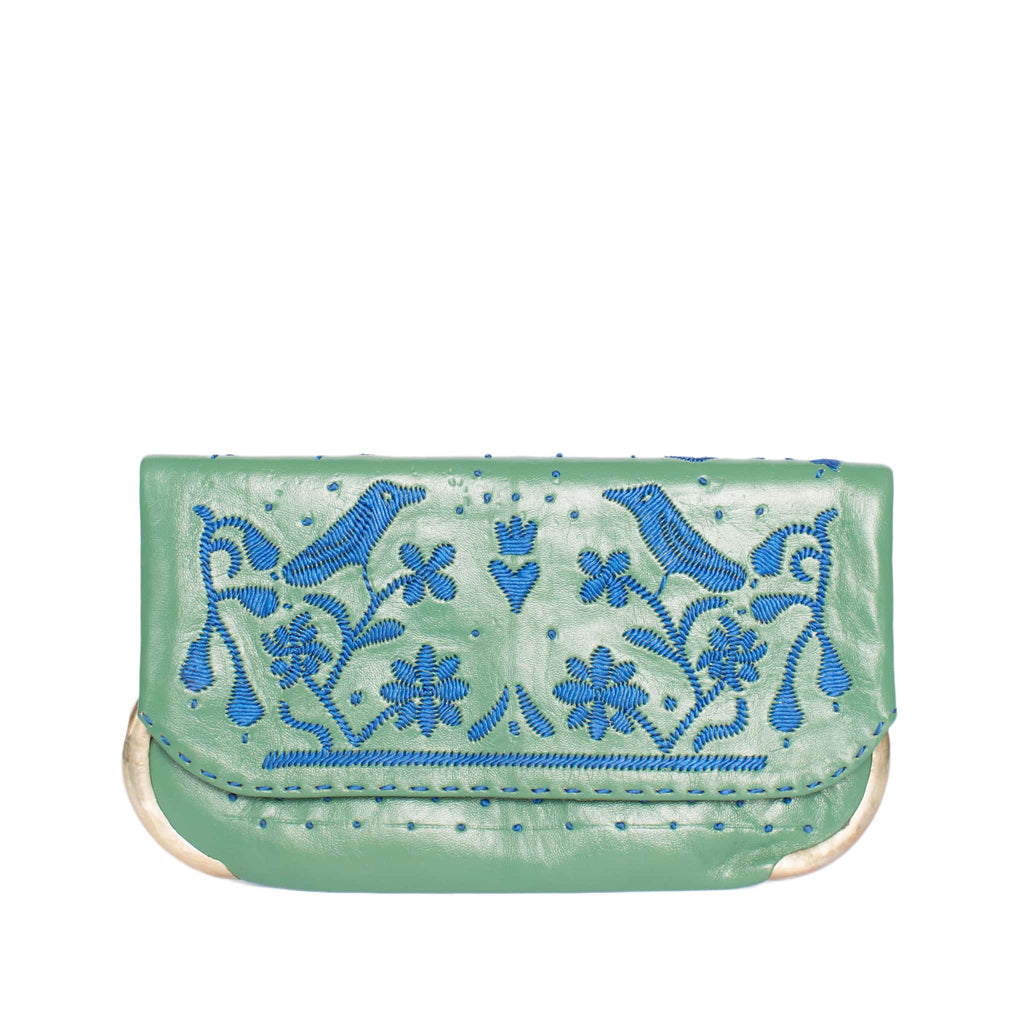 front side green and blue abury lovebirds clutch bag