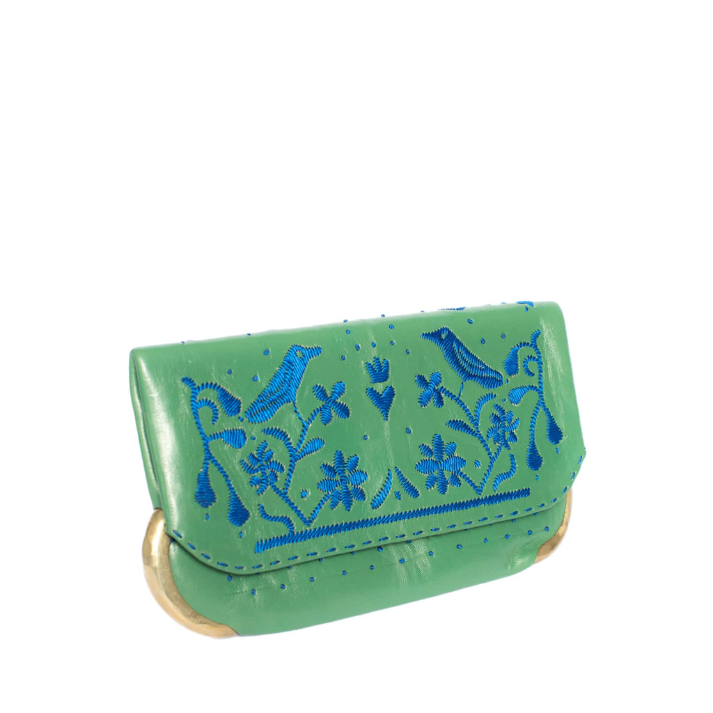 side green and blue abury lovebirds clutch bag