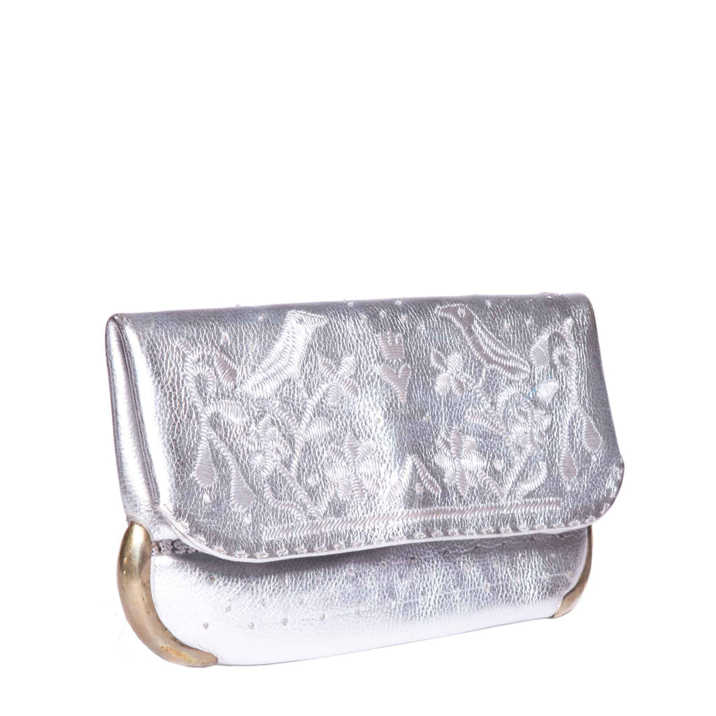 side view handmade silver abury lovebirds clutch bag