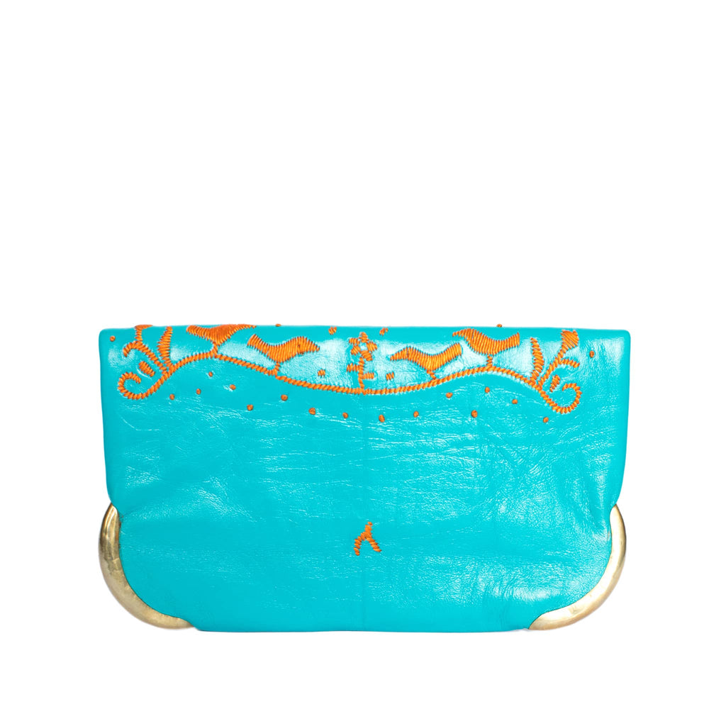 back side turquoise and orange abury lovebirds clutch bag