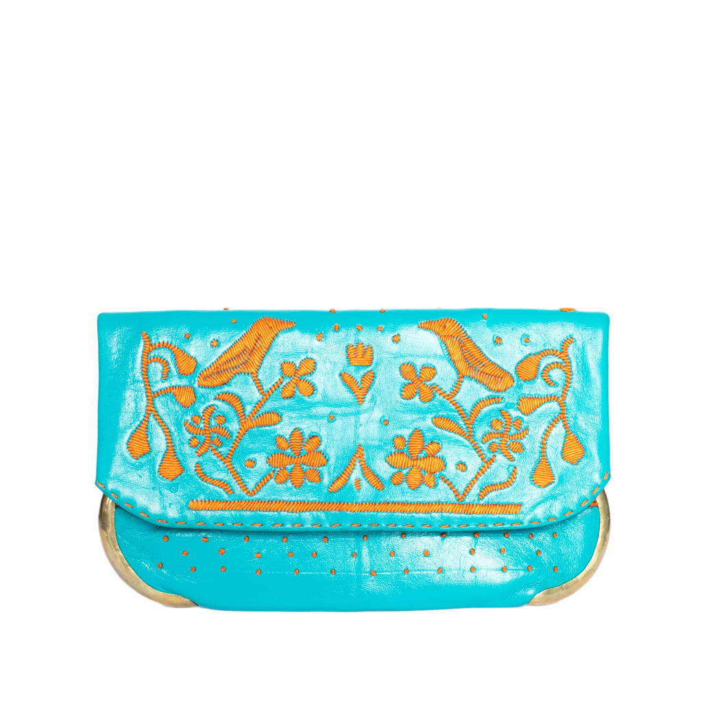 front side turquoise and orange abury lovebirds clutch bag