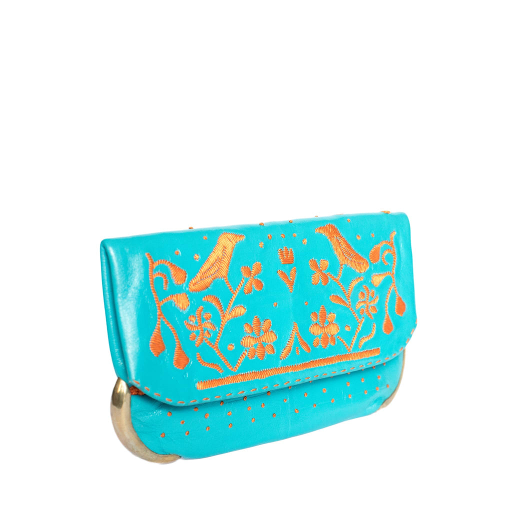 side turquoise and orange abury lovebirds clutch bag