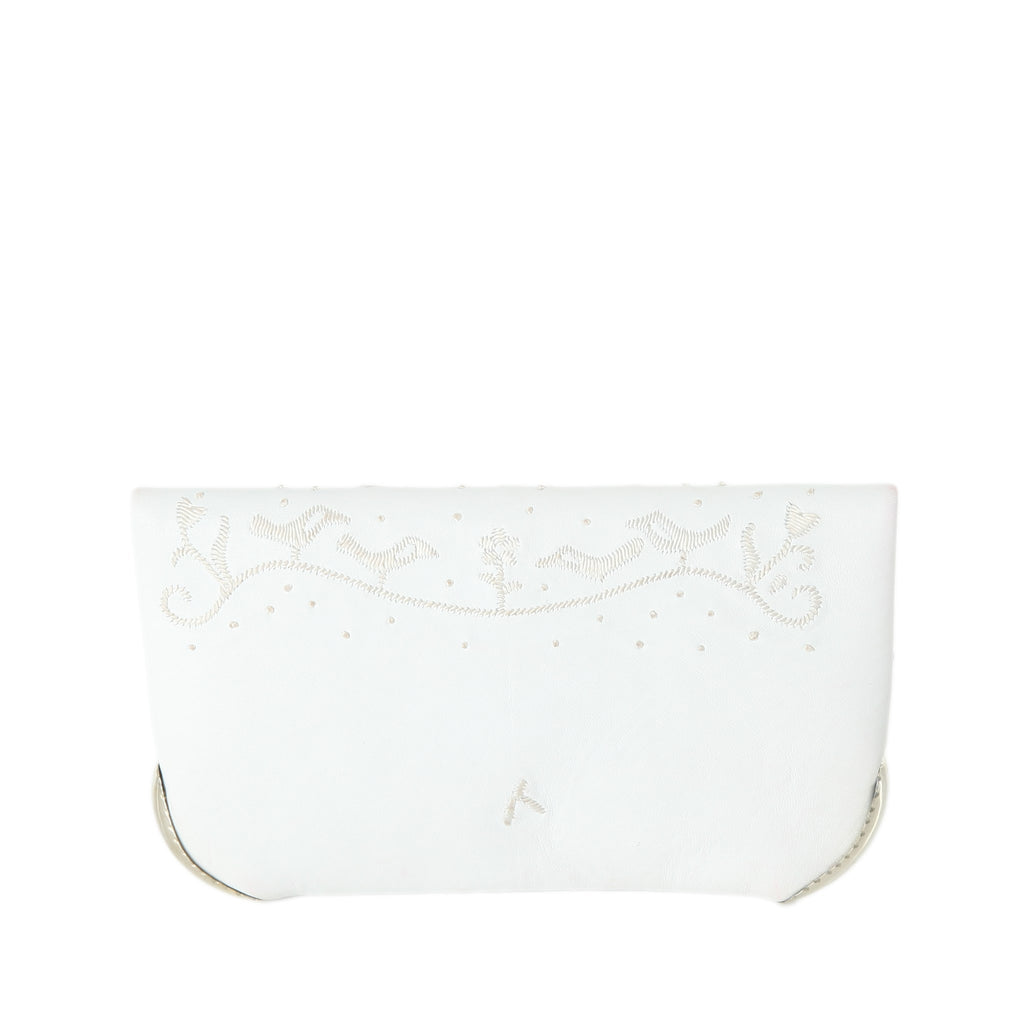 back view of handmade eco friendly white leather abury wedding clutch bag