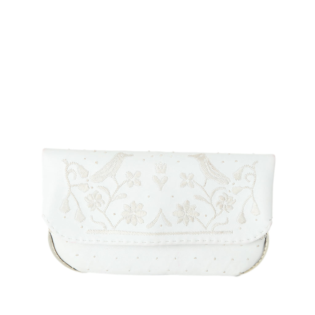 front side embroidered white leather abury wedding clutch bag