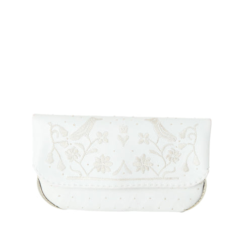 Embroidered Mini Crossbody Bag in White, Rosé
